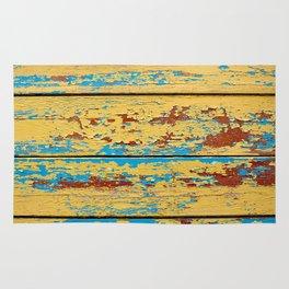 Wooden deck. Rug