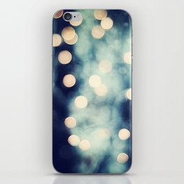 Bokeh Lights Sparkle Photography, Navy Gold Sparkly Abstract Photograph iPhone Skin