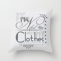 naked Throw Pillows featuring Naked by Fickle Designs