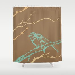 Bird on branch (brown, green, tan, yellow) illustration Shower Curtain