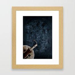 Igbo Nigerian Hand Fan [Blues Scale] Framed Art Print