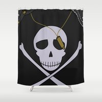 persona Shower Curtains featuring Persona 4 Kanji Tatsumi Uniform by Bunny Frost