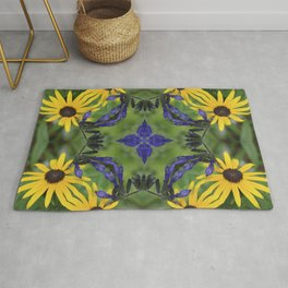 Blue Salvia Compass Points in a Ring of Rudbeckia Rug