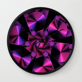 Abstract 344 a berry and black kaleidoscope Wall Clock