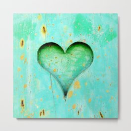 Blue Peeling Paint Wood Heart Metal Print