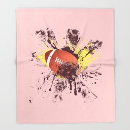 Grunge Rugby ball Throw Blanket