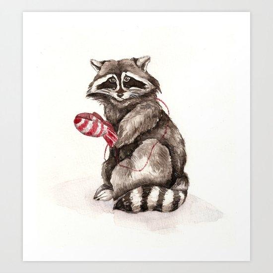 Pensive Raccoon in Red Mittens. Winter Season. Art Print