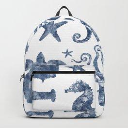 Delft Blue nautical Marine Life pattern, coastal beach Backpack