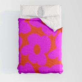 Pink Retro Flowers Orange Red Background #decor #society6 #buyart Comforters