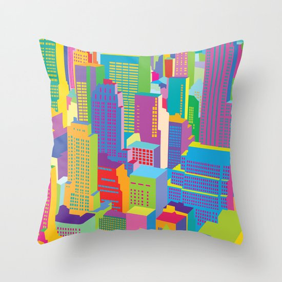 Cityscape windows Throw Pillow