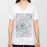 nashville V-neck T-shirts featuring Nashville by MapMapMaps.Watercolors
