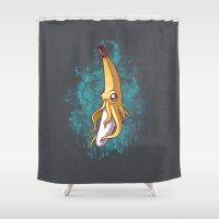 squid Shower Curtains featuring Banana Squid!!! by Chump Magic