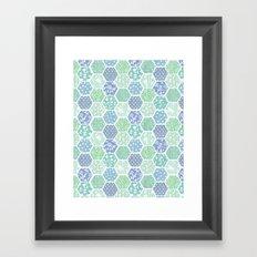 Cool Hex Patchwork Framed Art Print