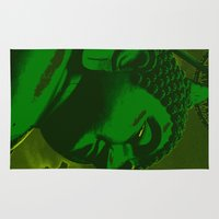 buddah Area & Throw Rugs featuring Buddah Head 02; Green  by Kether Carolus