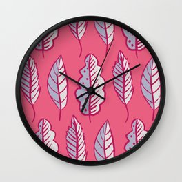Pink Leaves Abstract Decorative Pattern Wall Clock