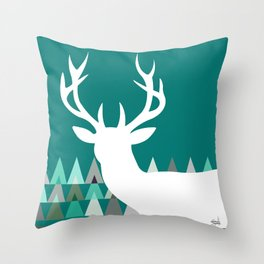 Deer Head Geometric Triangles | teal turquoise Throw Pillow