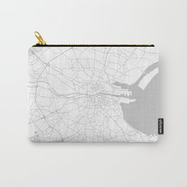 White on Light Grey Dublin Street Map Carry-All Pouch