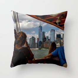 Freedom Tower & Tourists Throw Pillow