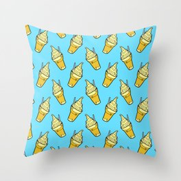 Sweet Little Pineapple Floats on Blue Throw Pillow