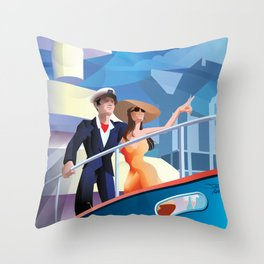 COUPLE ON YACHT Throw Pillow