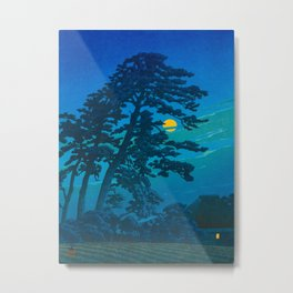 Vintage Japanese Woodblock Print Kawase Hasui Haunting Tree Silhouette At Night Moonlight Metal Print