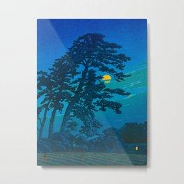 Vintage Japanese Woodblock Print Kawase Hasui Haunting Tree Silhouette At Night Moonlight Metal Print