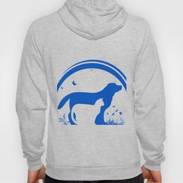 Dog and Cat and nature Silhouette Hoody