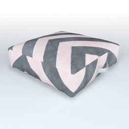 Geometrical mauve gray pink watercolor pattern Outdoor Floor Cushion