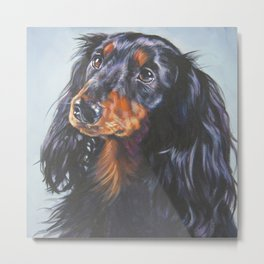 long haired Dachshund art portrait from an original painting by L.A.Shepard Metal Print
