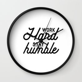 OFFICE WALL ART, Work Hard Stay Humble,Play Hard,Motivational Poster,Be Kind,Home Office Desk,Printa Wall Clock