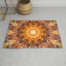 Orange Fire Mandala art - solar plexus chakra Rug