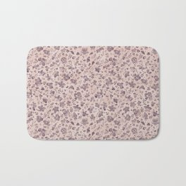 Ditsy Lilac Field of Petals on Pink,  Tiny Floral Pattern Bath Mat
