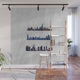 Chicago, New York City, And Los Angeles City Skylines Wall Mural