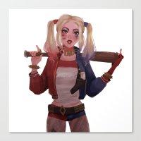 harley quinn Canvas Prints featuring Harley Quinn by punziella