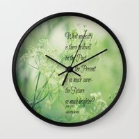 jane eyre Wall Clocks featuring Present and Future Jane Eyre Quote by KimberosePhotography
