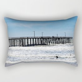 A Panoramic View Of Pismo Beach Pier, Surfers And Ocean Rectangular Pillow