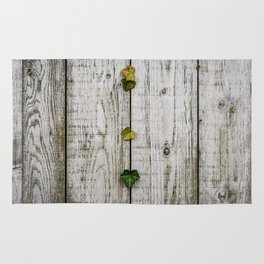 Wooden walls and leaves Rug