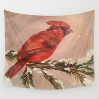 cardinal Wall Tapestries featuring Cardinal by Emily Tucci