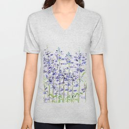 purple blue mealycup sage flowers watercolor   Unisex V-Neck