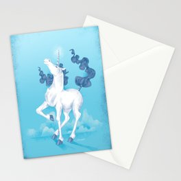 Stencil Unicorn on Teal Sky and Cloud Spray Stationery Cards