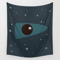 spaceship Wall Tapestries featuring Spaceship 000 by Keagraphics
