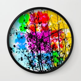 tree branch with splash painting texture abstract background in pink blue red yellow green Wall Clock