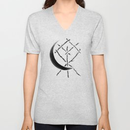 Crescent Moon Rune Binding at Midnight Unisex V-Neck