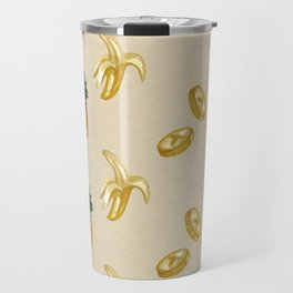 Banana & pineapple watercolor pattern Travel Mug