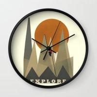 explore Wall Clocks featuring Explore by bri.buckley