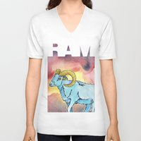 ram V-neck T-shirts featuring RAM by David Napier