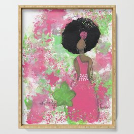 Dripping Pink and Green Angel Serving Tray