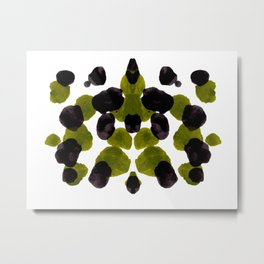 Olive Green And Black Ink Blot Pattern Metal Print