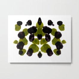 Olive Green And Black Ink Blot Pattern Metal Print