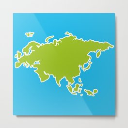 Eurasia map green continent  on blue background Metal Print